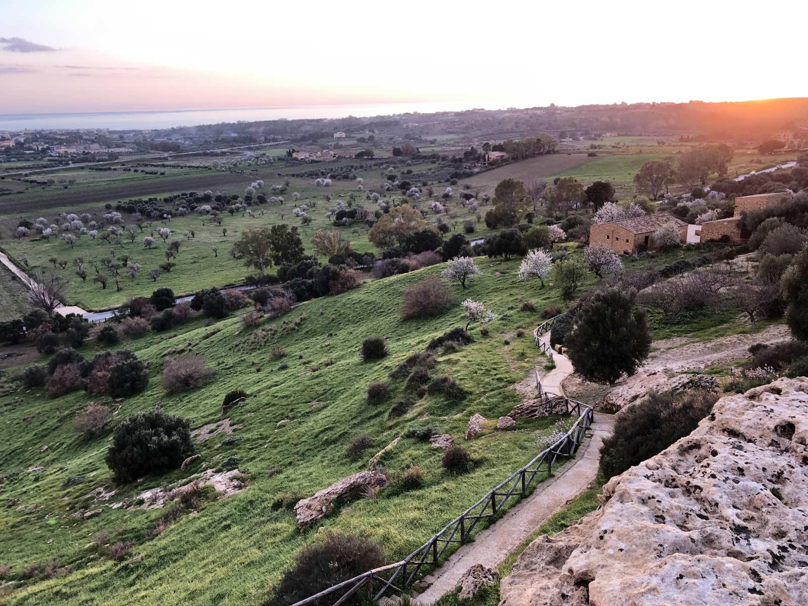 La valle dei templi con i mandorli fioriti, casa Barbadoro e la pianura a sud della collina dei templi fino al mare al tramonto