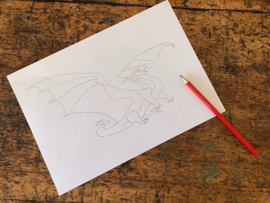 Un disegno di un drago