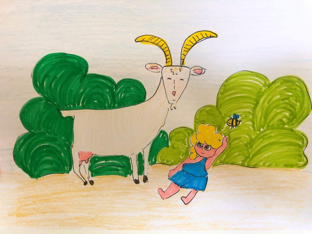 Zeus e la capra Amaltea che lo ha nutrito con il suo latte insieme all'ape Melissa che ha fornito il miele
